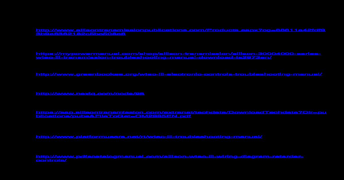 Allison World Transmission Wiring Diagram