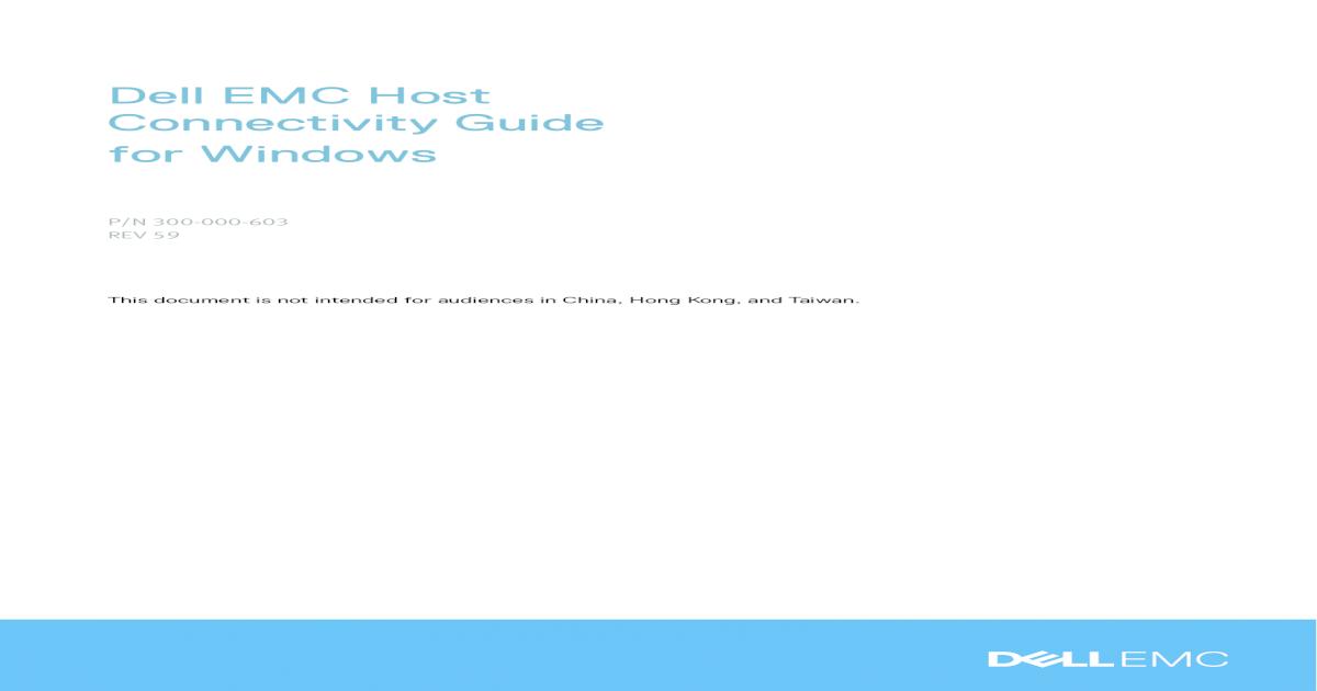 Dell EMC Host Connectivity Guide for Windows Family, Dell