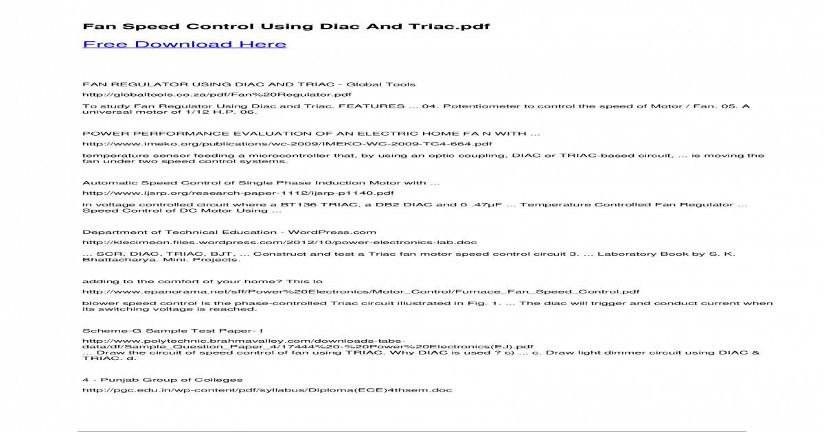 Fan Speed Control Using Diac And Triac - Speed Control Using Diac