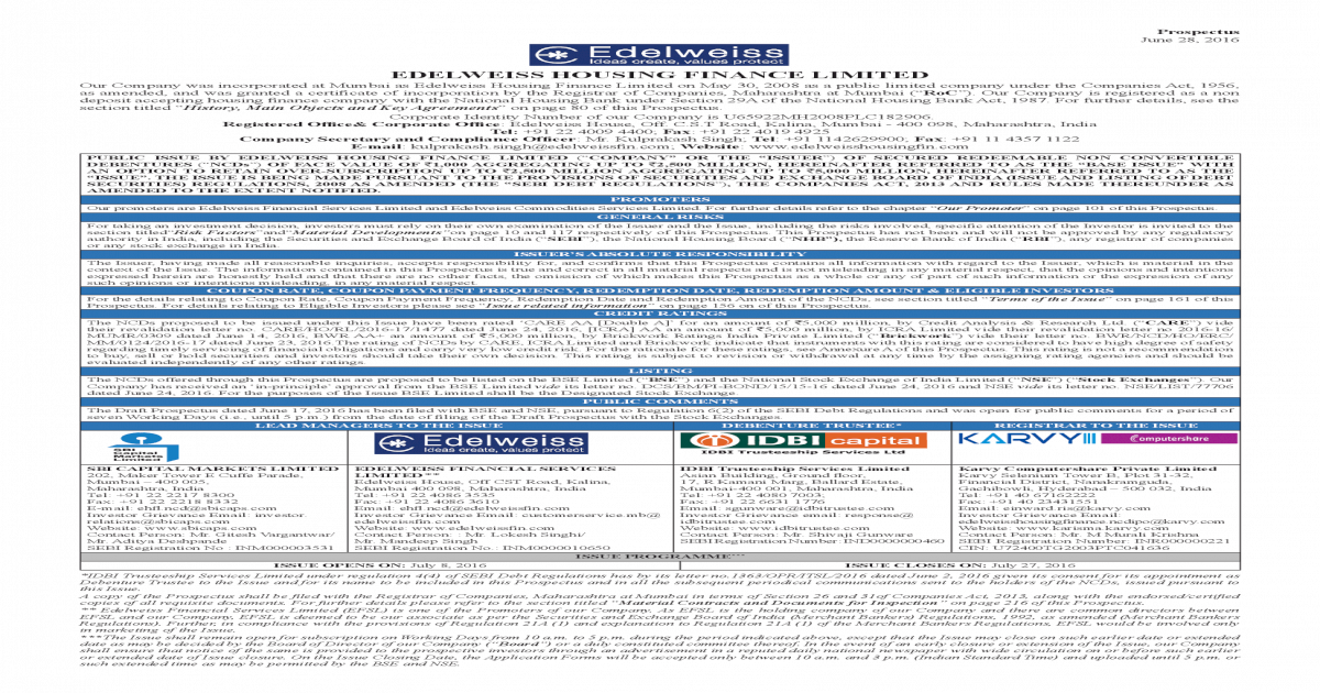 Edelweiss Housing Finance Limited-Prospectus - [PDF Document]