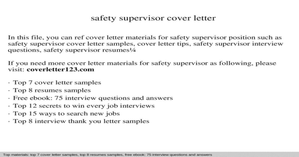 Safety supervisor cover letter - [PPT Powerpoint]