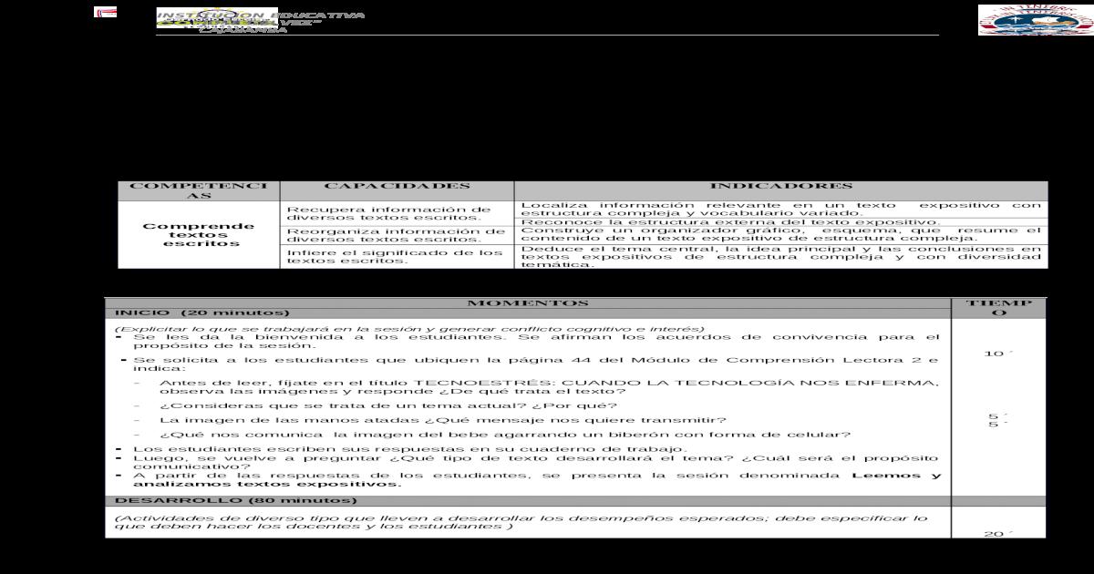 Leemos Y Analizamos Textos Expositivos Docx Document