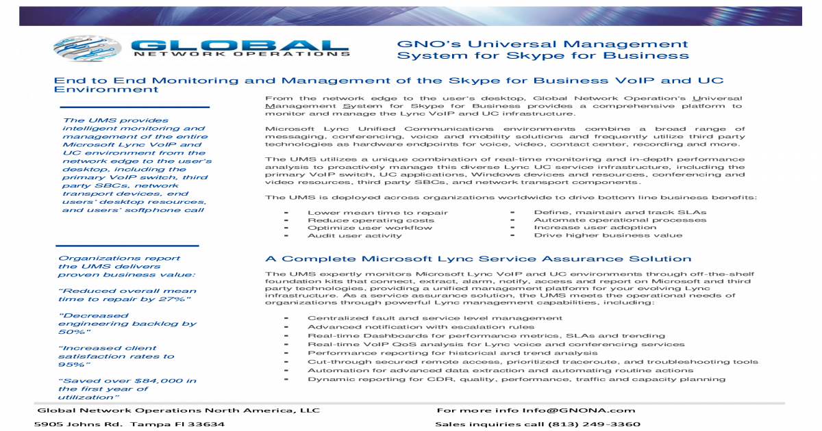 GNO's Skype for Business Monitoring brochure - [PDF Document]