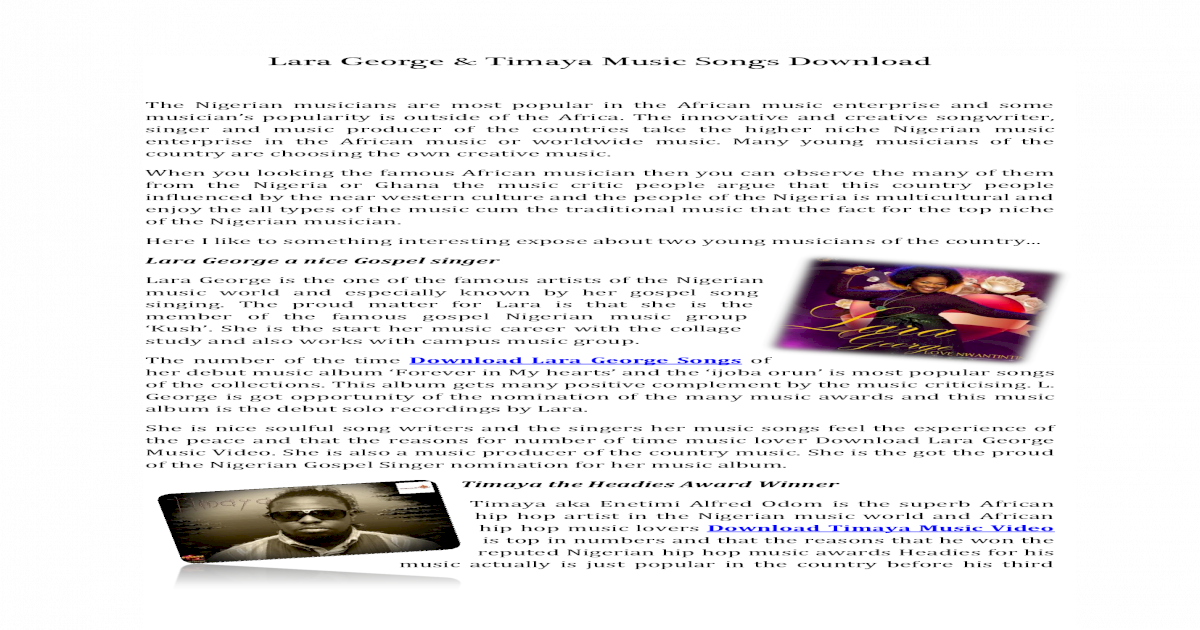 Lara George & Timaya Music Songs Download - [PDF Document]