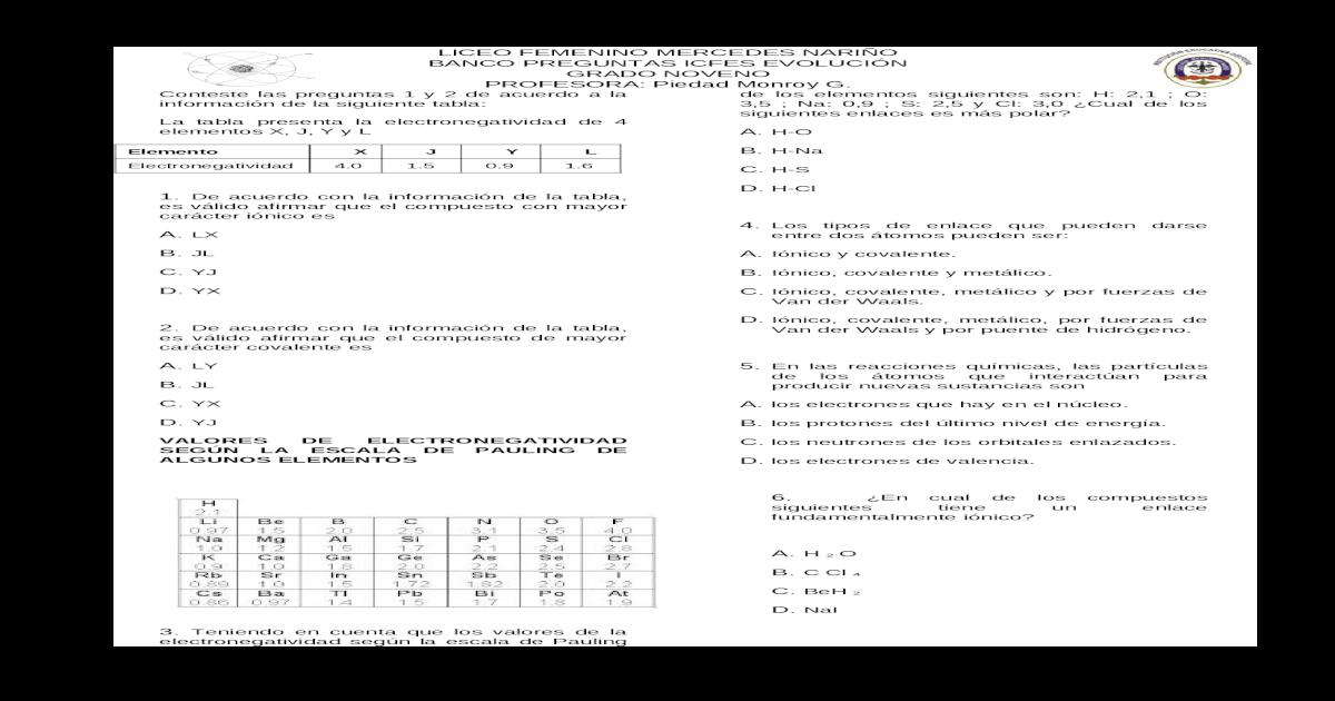 Banco Icfes Enlaces Quimicos Docx Document