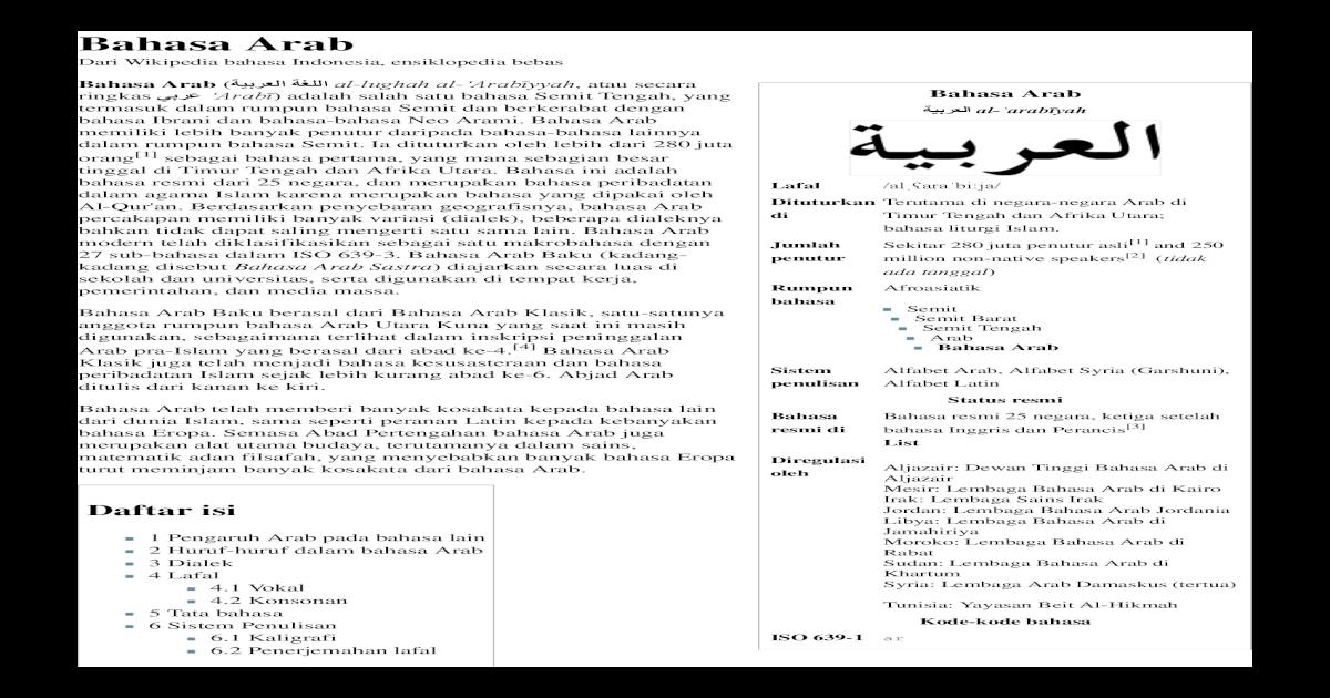 Bahasa Arab Wikipedia Bahasa Indonesia Ensiklopedia Bebas