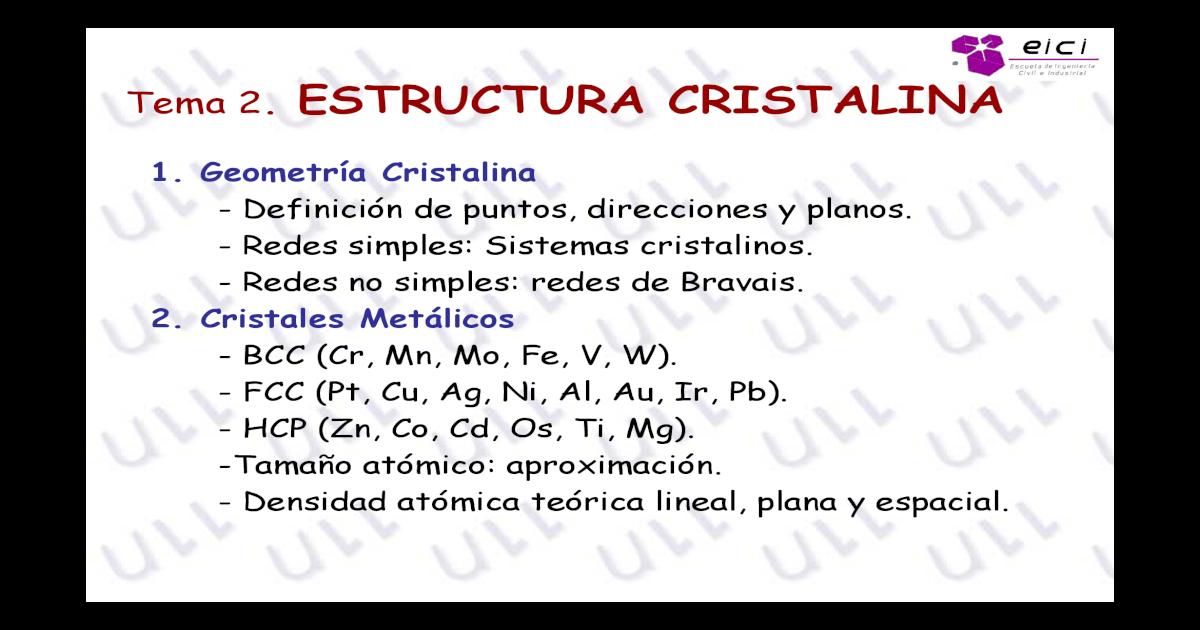 1 Estructura Cristalina Metales 1 Pdf Document