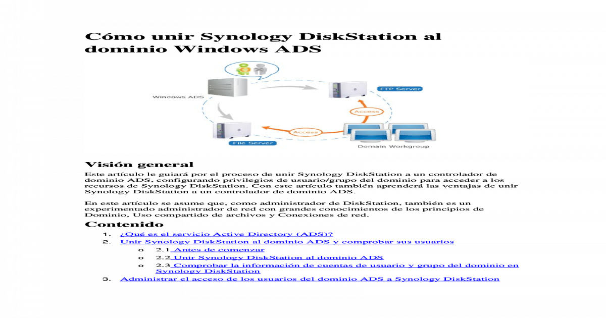 Cmo unir Synology DiskStation al dominio Windows ADS - [DOCX