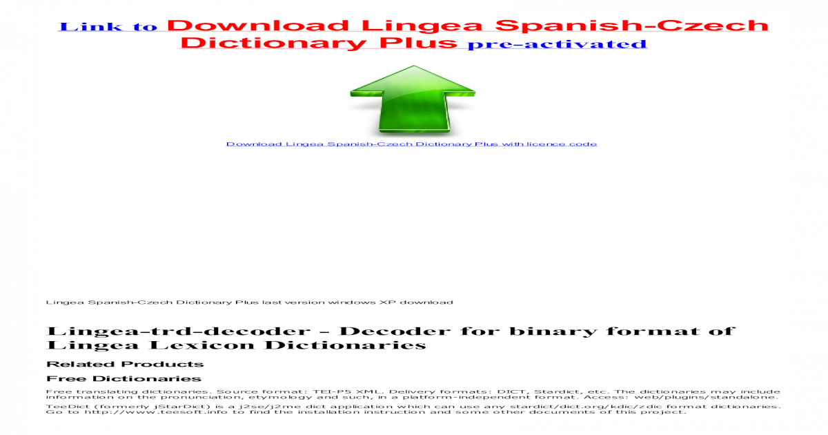 Lingea Spanish-Czech Dictionary Plus cracked - [PDF Document]