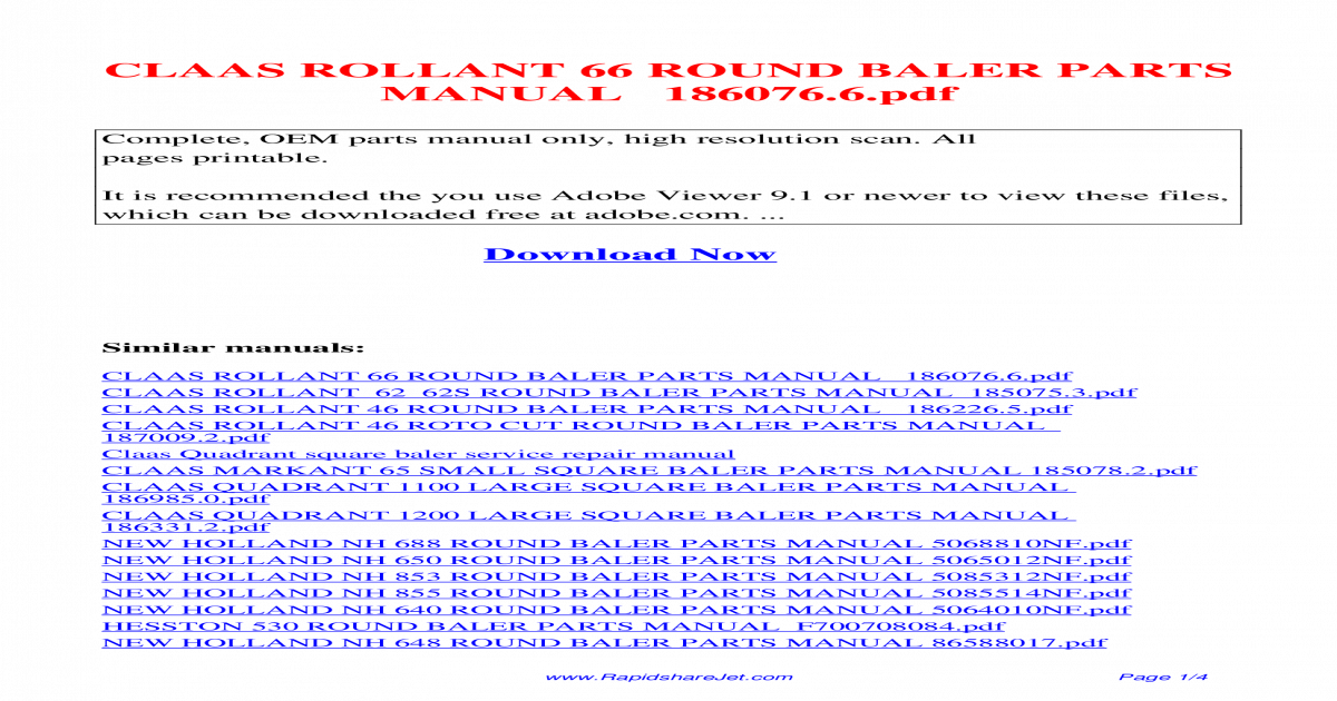 CLAAS ROLLANT 66 ROUND BALER PARTS MANUAL 186076 6 pdf