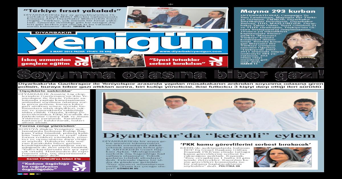 Diyarbakir Yenigun Gazetesi 3 Mart 2013 Pdf Document
