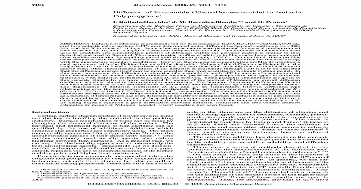 Diffusion of Erucamide (13- cis -Docosenamide) in Isotactic