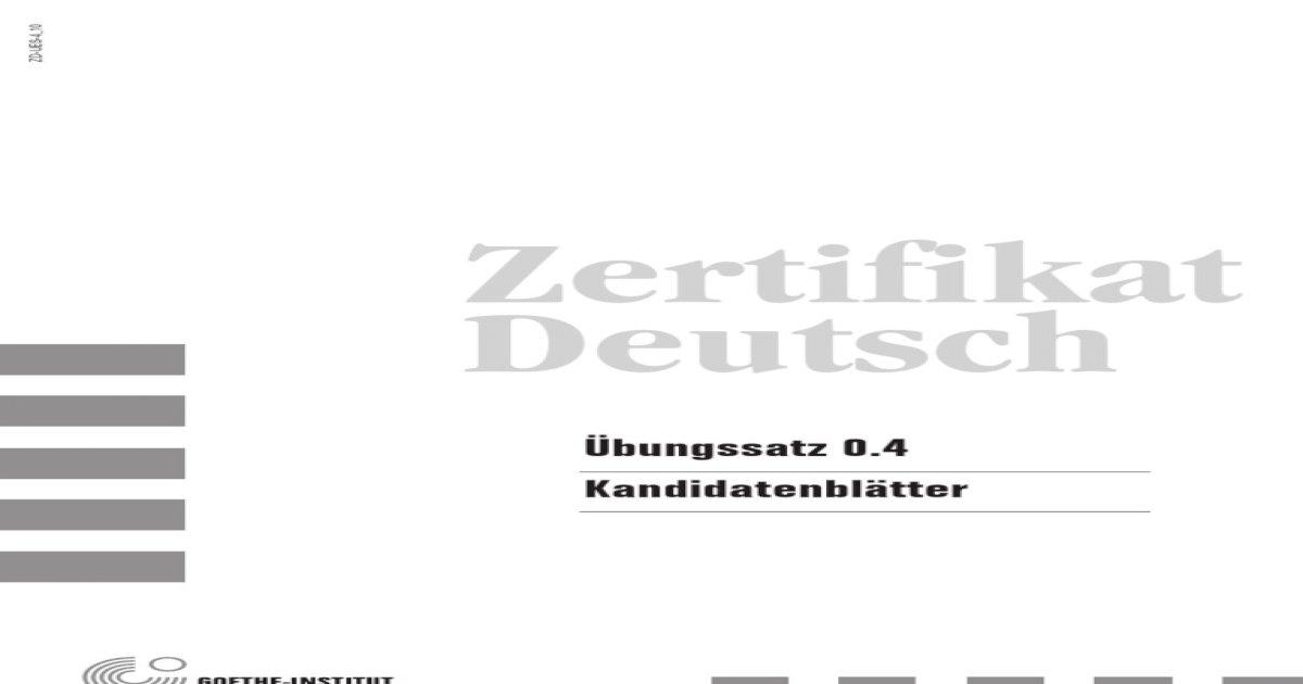 Zertifikat Deutsch B1 Modellsatz 04 Prueferblaetter Pdf