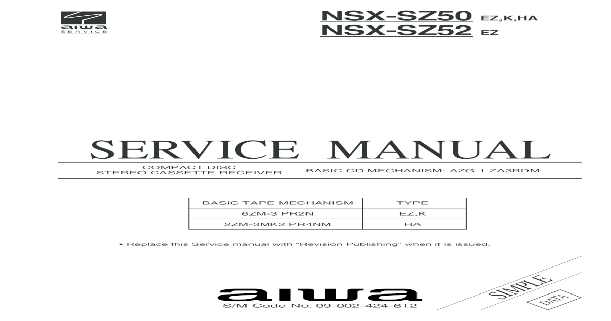 aiwa nsx-s94 service manual