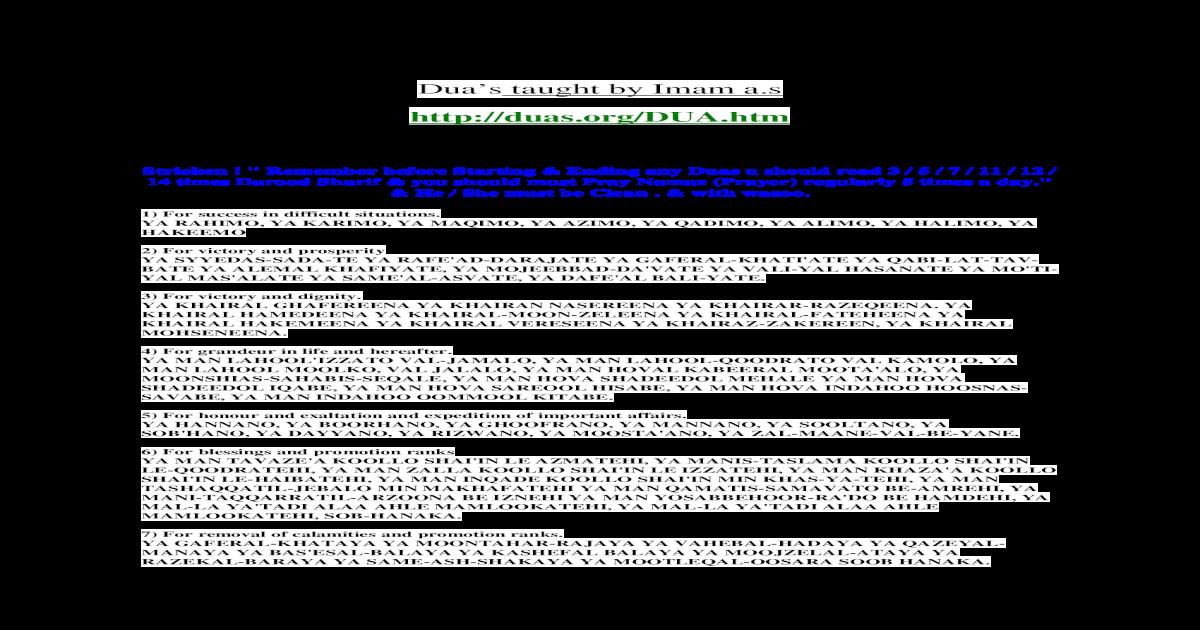 Dua's of Hazrat Ali - [PDF Document]