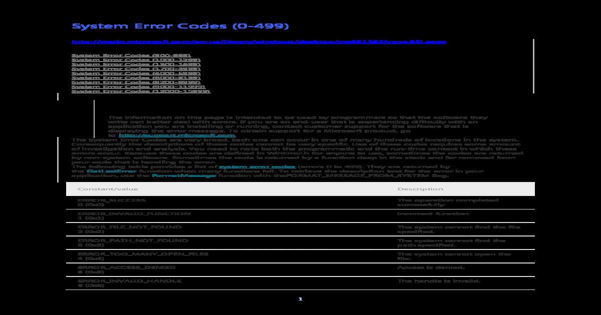System Error Codes (MSDN) - [PDF Document]
