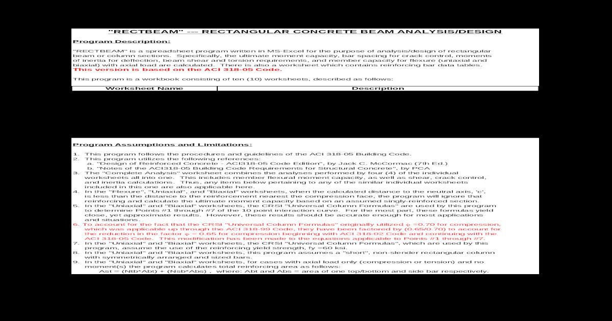 Diseo de vigas y columnas de concreto ACI-318-05 - [XLS Document]