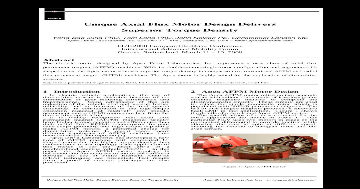 Apex Motor Offers Superior Torque Density - [PDF Document]