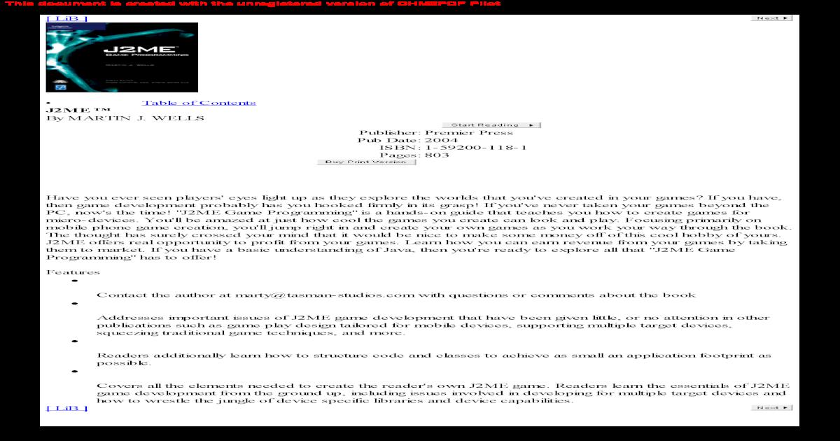 J2ME Game Programming - [PDF Document]