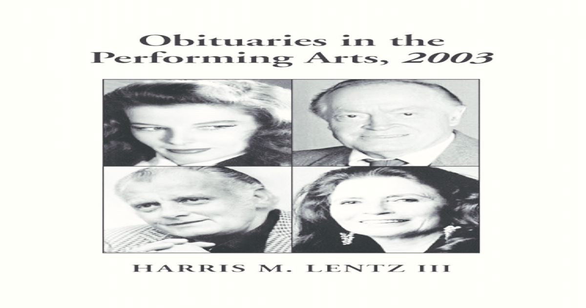 88fba68f8b4 Obituaries in the Performing Arts