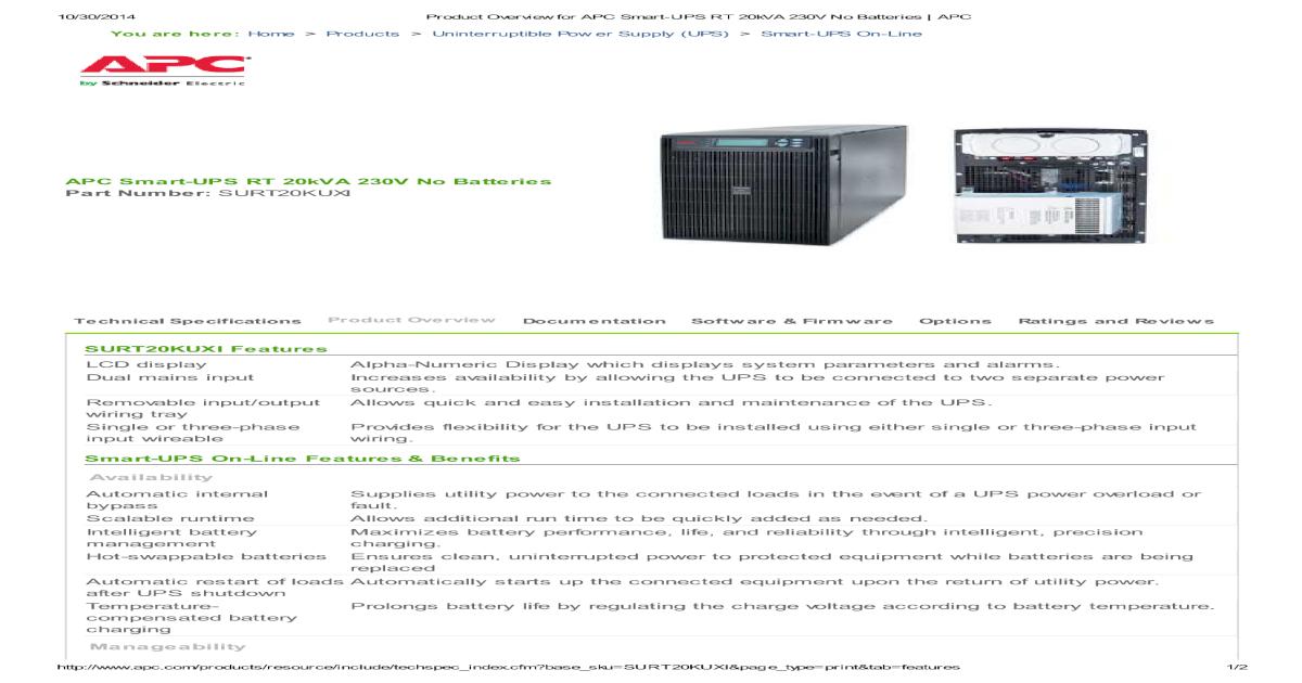 APC Smart-UPS RT 20kVA Features & Benefit - [PDF Document]