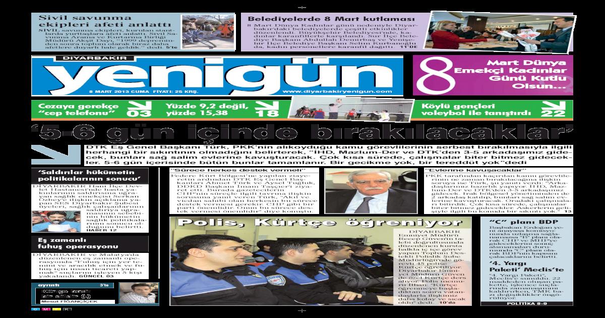 Diyarbakir Yenigun Gazetesi 8 Mart 2013 Pdf Document