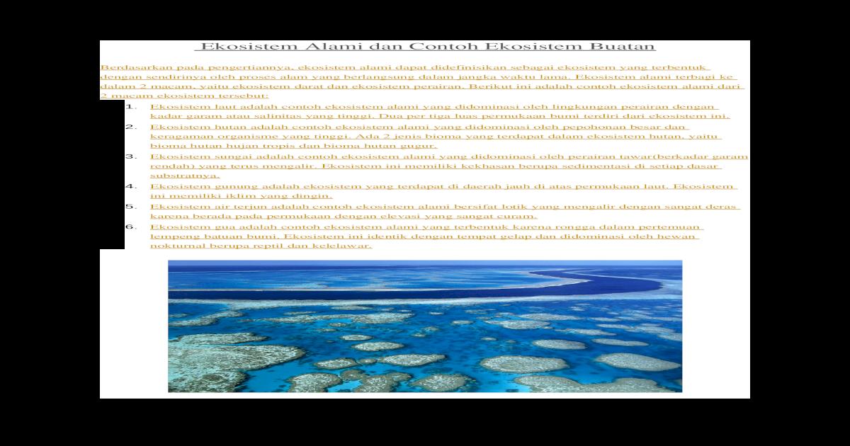 Ekosistem Alami Dan Contoh Ekosistem Buatan Docx Document