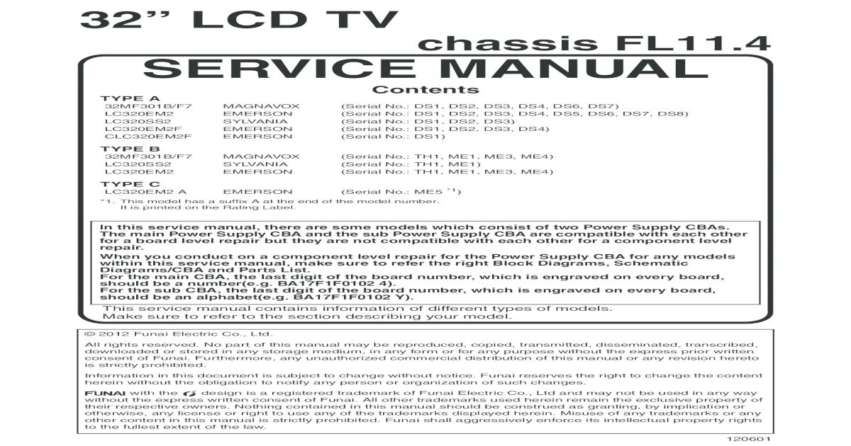 Emerson Lc320em2 MAGNAVOX 32MF301B Chassis Fl11 4 - [PDF