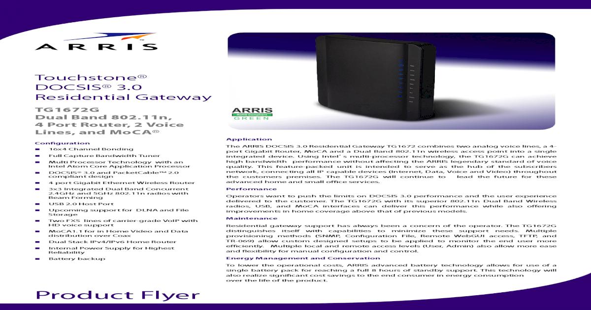 Arris TG1672G Data Sheet - [PDF Document]