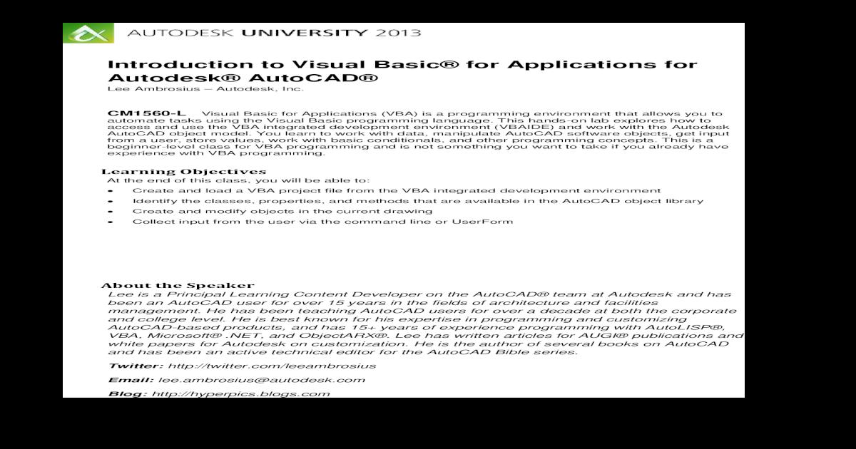Introducction to Vba for Autocad - [PDF Document]