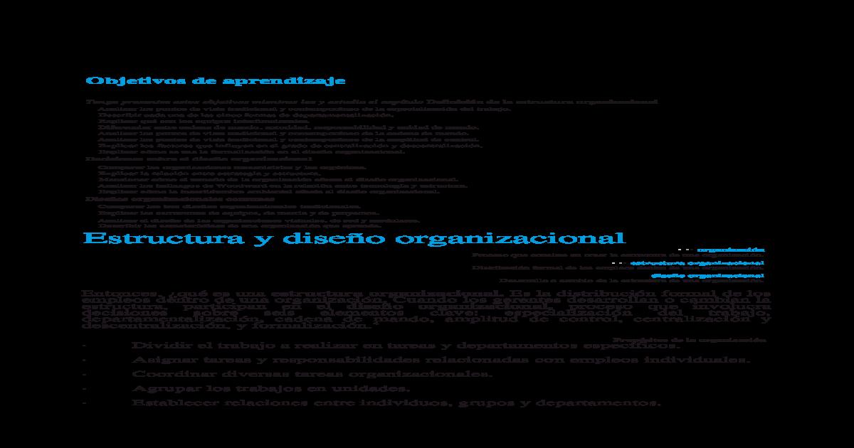 Captulo 10 Estructura Y Diseo Organizacional Docx Document