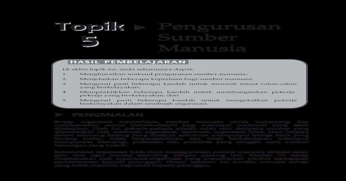 20150121070019 Topik 5 Pengurusan Sumber Manusia Pdf Document