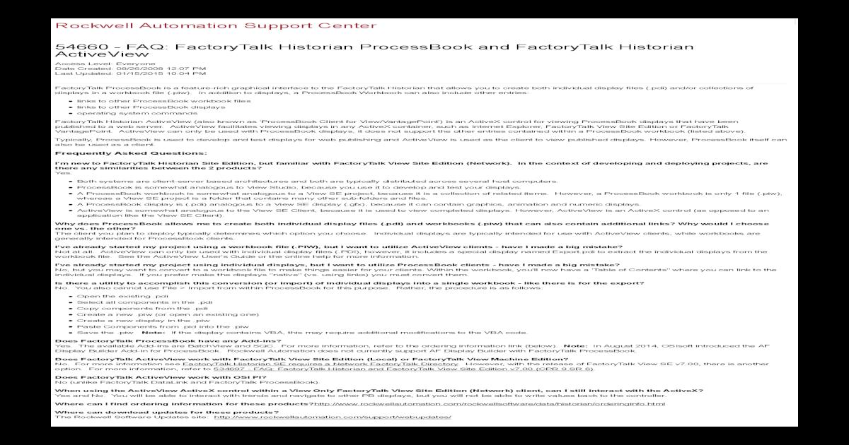54660FAQ_ FactoryTalk Historian ProcessBook and FactoryTalk