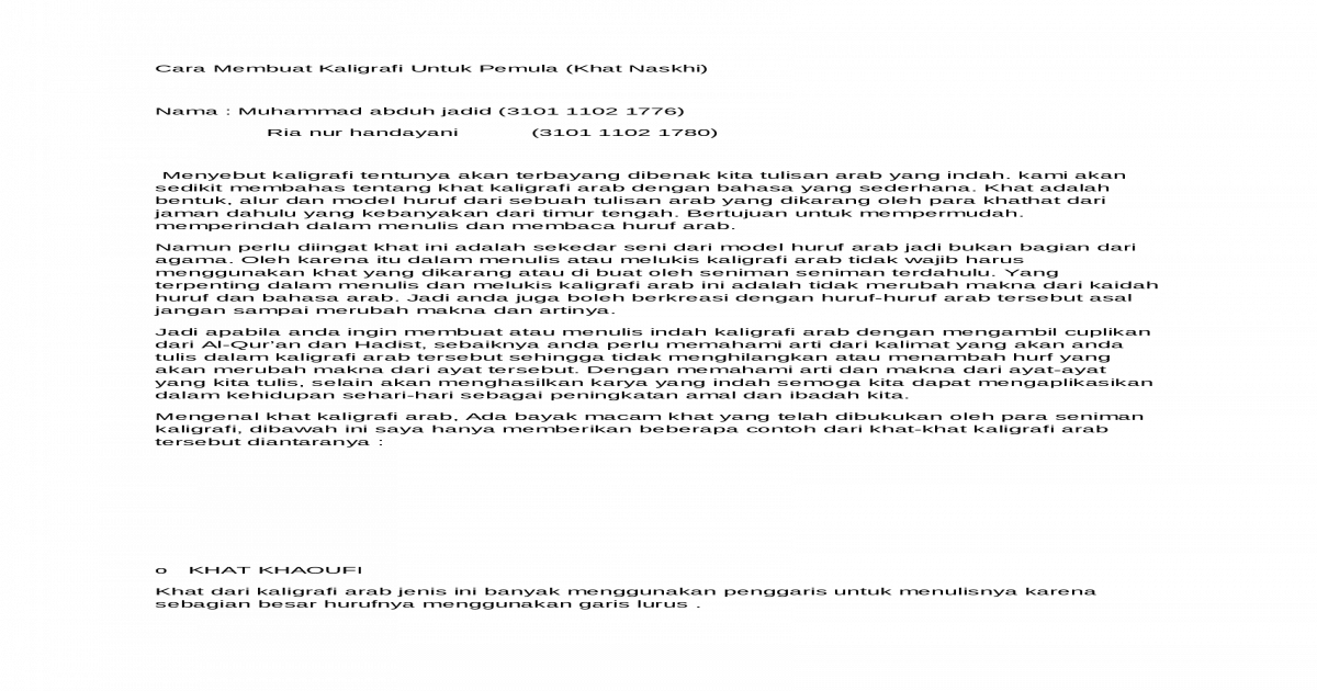 Kaligrafi Docx Document