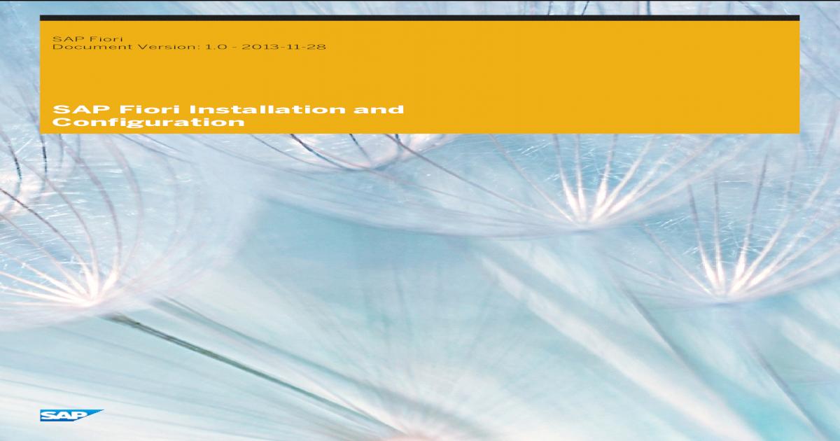 SAP Fiori Installation & Configuration - [PDF Document]