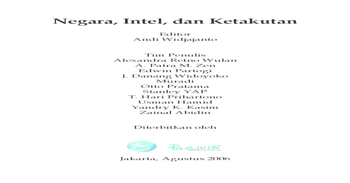 Negara, Intel Dan Ketakutan - Pacivis UI (2006) - [PDF Document]