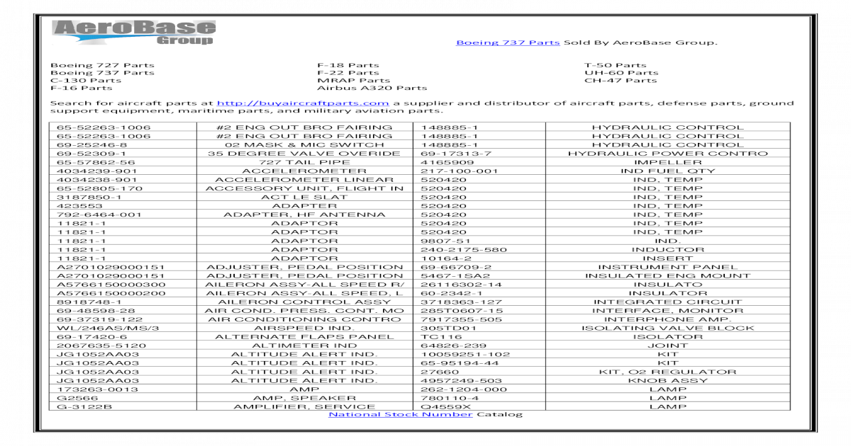 Boeing 737 Parts Sold By Aerobase - [PDF Document]