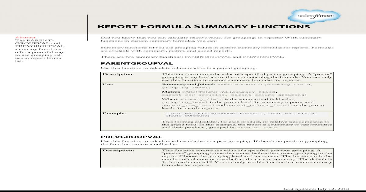 Salesforce Report Summary Functions Cheatsheet - [PDF Document]