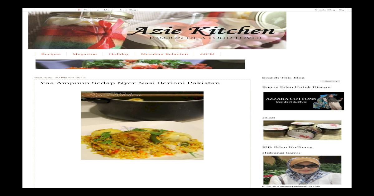 Azie Kitchen Yaa Ampuun Sedap Nyer Nasi Beriani Pakistan