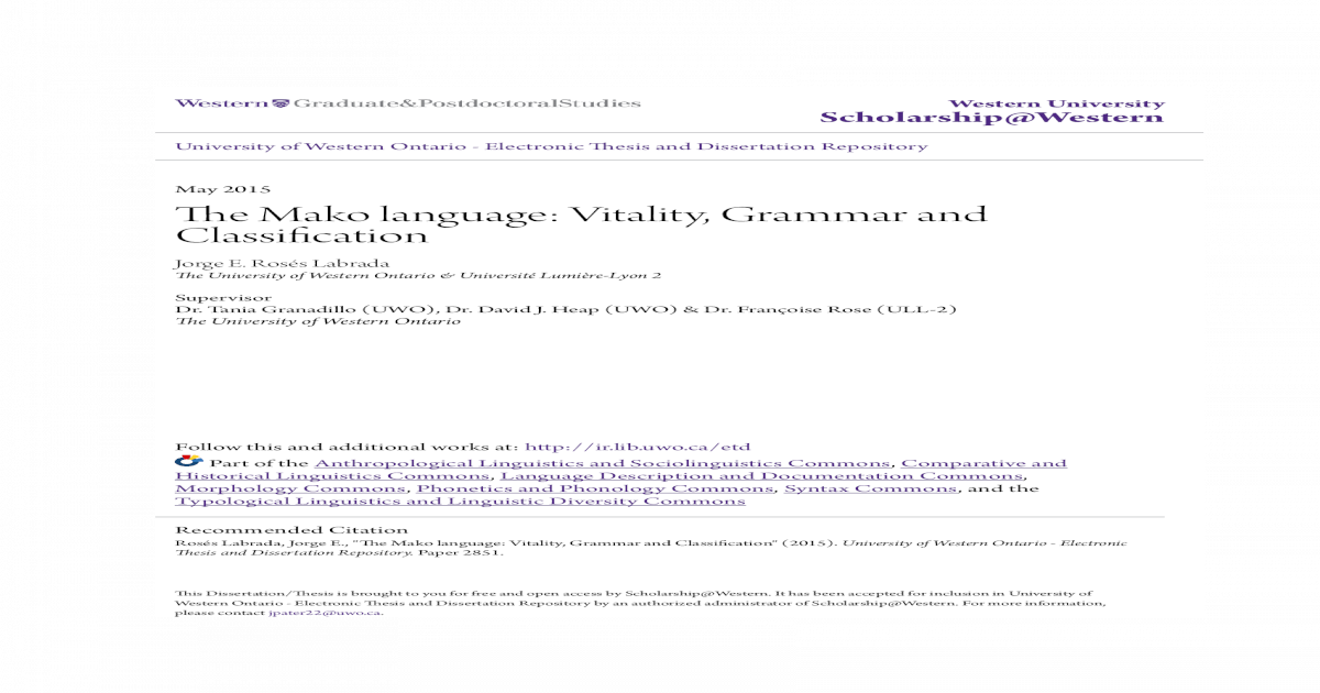 The Mako Language Vitality Grammar And Classification