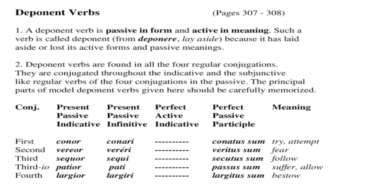 Deponent Verbs (Pages 307 - 308) 1  A deponent verb is