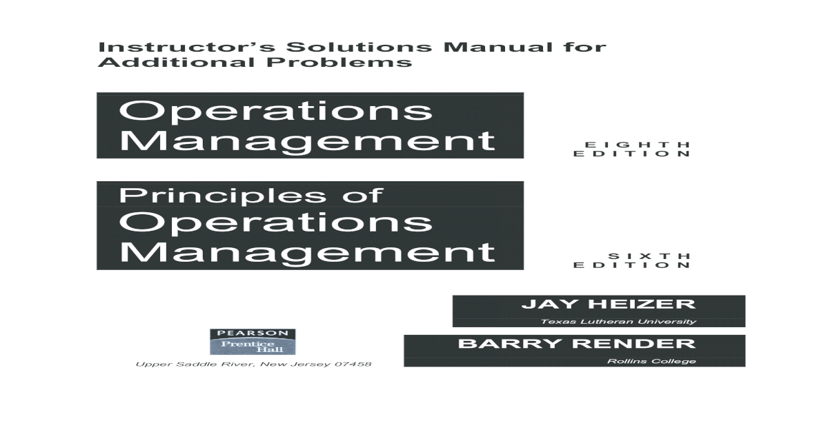 solution operation management jay heizer