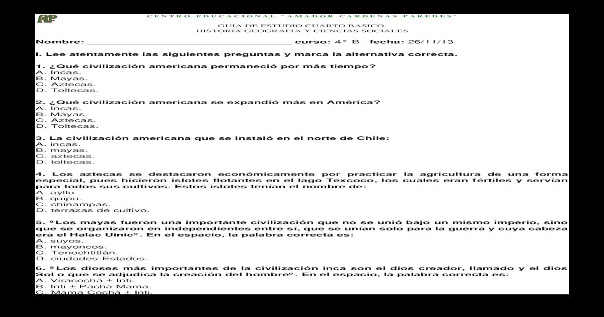 Guia De Estudio Los Incas Cuarto Basico Docx Document