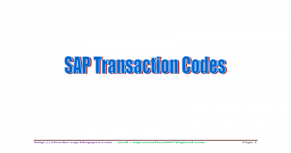 16000+ SAP TCODES - [PDF Document]
