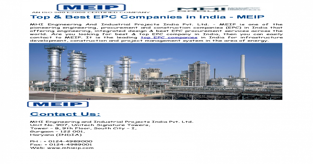 Top & Best EPC Companies in India - MEIP - [PDF Document]