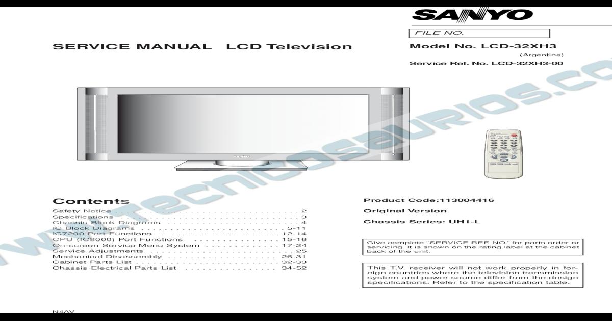 9619 Sanyo LCD-32XH3 Chassis UH1-L Televisor LCD Manual de