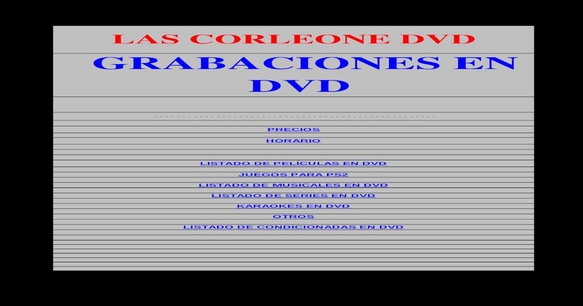 Las Corleone Dvd@Hotmail - [XLS Document]
