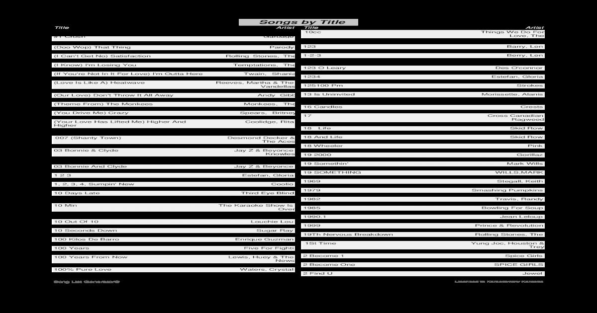 500 Gb Karaoke Songbook Title10 07 Pdf Document