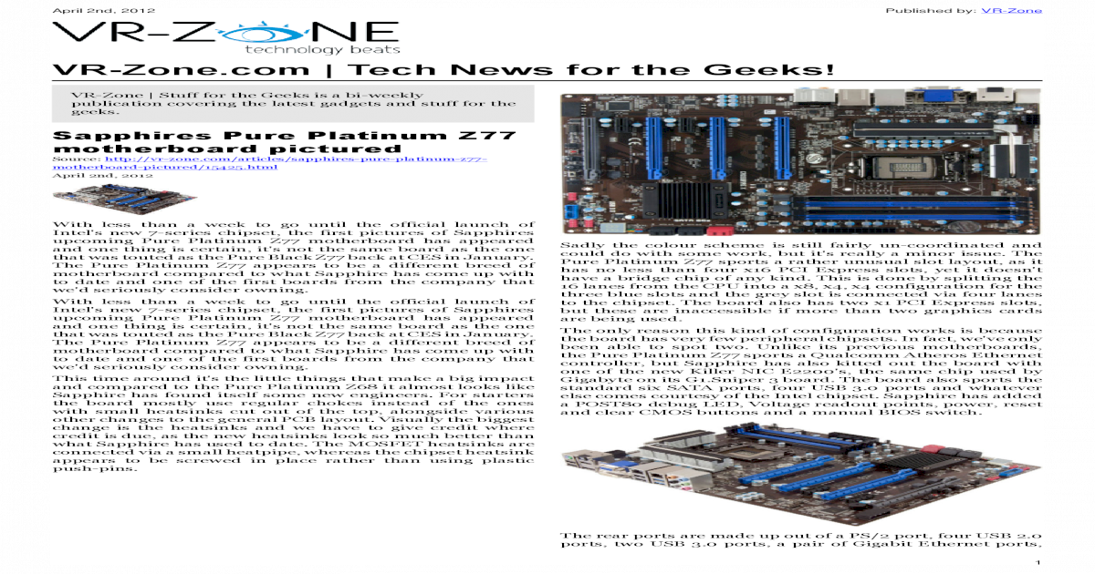 VR-Zone Tech News for the Geeks 2012 Issue 1 - [PDF Document]