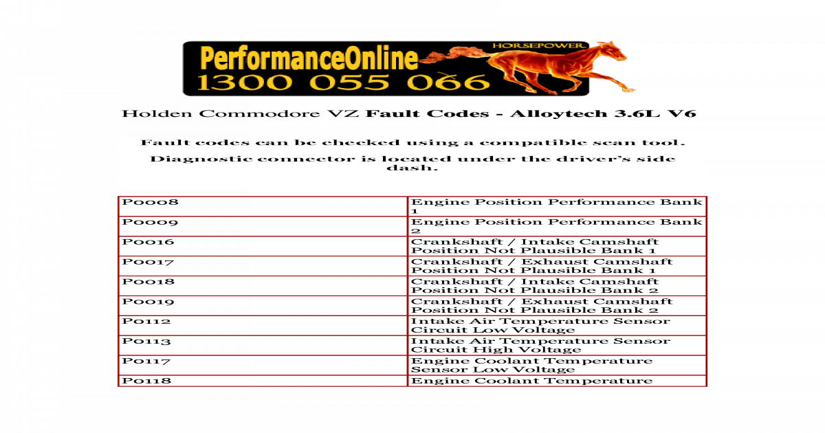 Holden Commodore VZ Fault Codes - [PDF Document]